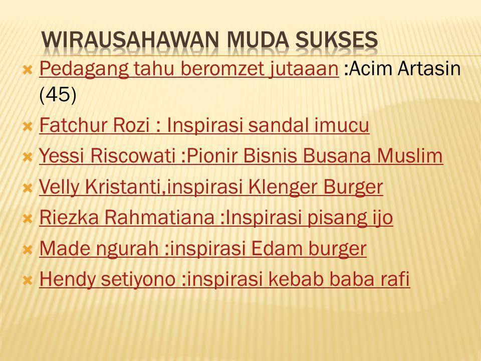  Pedagang tahu beromzet jutaaan :Acim Artasin (45) Pedagang tahu beromzet jutaaan  Fatchur Rozi : Inspirasi sandal imucu Fatchur Rozi : Inspirasi sa