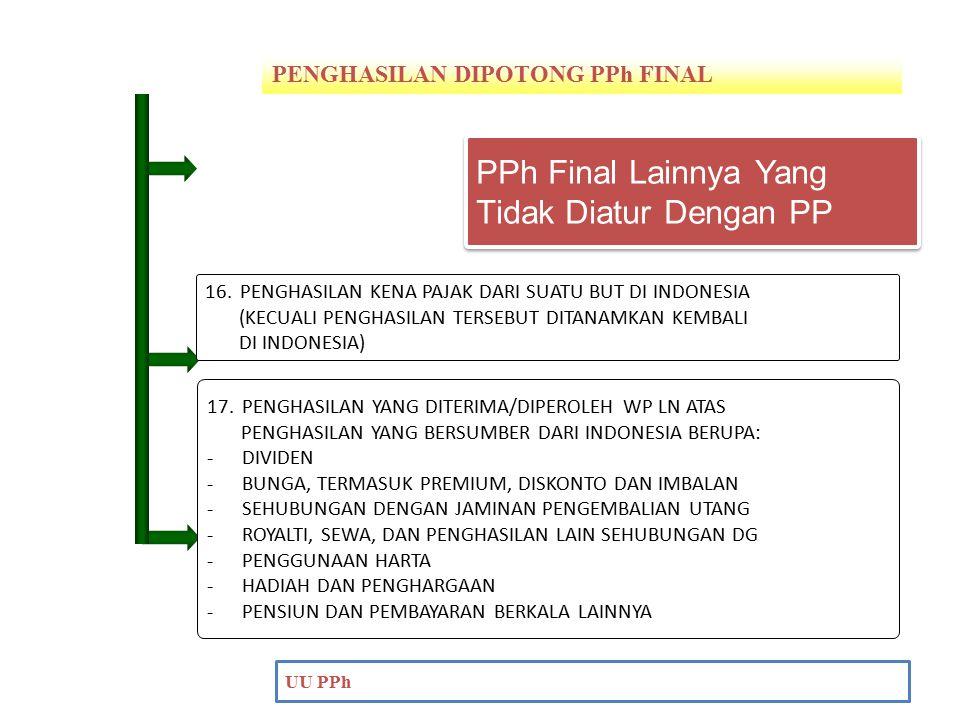 PENGHASILAN DIPOTONG PPh FINAL PENDAHULUAN UU PPh 17.PENGHASILAN YANG DITERIMA/DIPEROLEH WP LN ATAS PENGHASILAN YANG BERSUMBER DARI INDONESIA BERUPA: -DIVIDEN -BUNGA, TERMASUK PREMIUM, DISKONTO DAN IMBALAN -SEHUBUNGAN DENGAN JAMINAN PENGEMBALIAN UTANG -ROYALTI, SEWA, DAN PENGHASILAN LAIN SEHUBUNGAN DG -PENGGUNAAN HARTA -HADIAH DAN PENGHARGAAN -PENSIUN DAN PEMBAYARAN BERKALA LAINNYA 16.PENGHASILAN KENA PAJAK DARI SUATU BUT DI INDONESIA (KECUALI PENGHASILAN TERSEBUT DITANAMKAN KEMBALI DI INDONESIA) PPh Final Lainnya Yang Tidak Diatur Dengan PP PPh Final Lainnya Yang Tidak Diatur Dengan PP