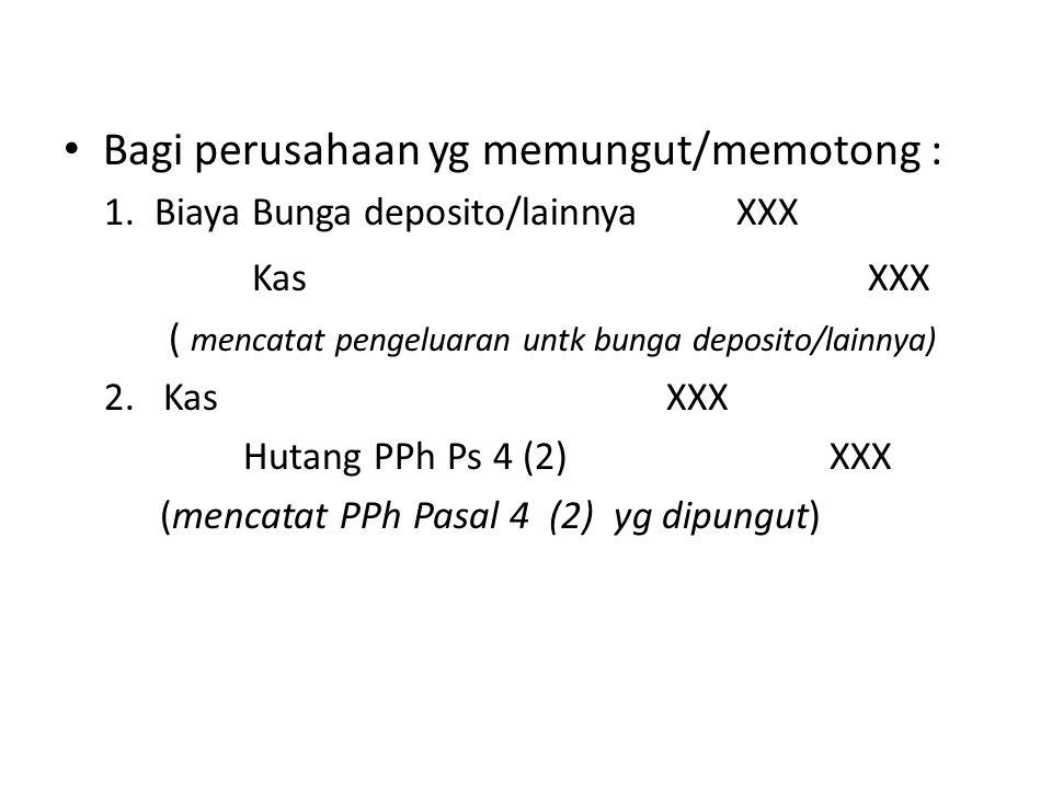Bagi perusahaan yg memungut/memotong : 1. Biaya Bunga deposito/lainnya XXX Kas XXX ( mencatat pengeluaran untk bunga deposito/lainnya) 2.Kas XXX Hutan