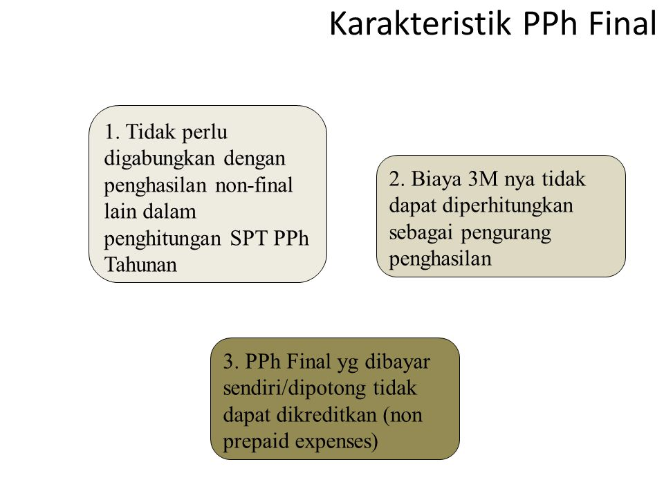 Karakteristik PPh Final 1. Tidak perlu digabungkan dengan penghasilan non-final lain dalam penghitungan SPT PPh Tahunan 3. PPh Final yg dibayar sendir