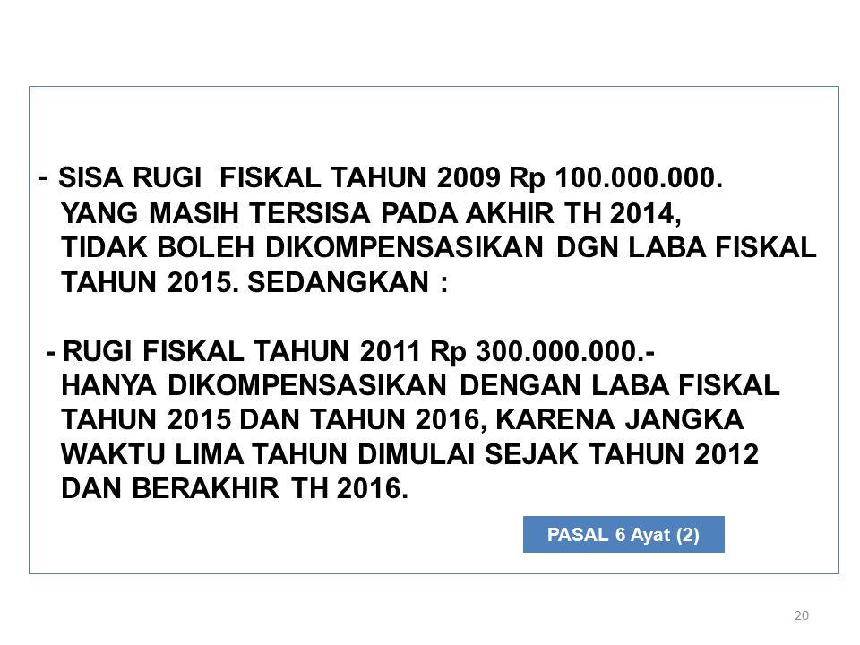 20 - SISA RUGI FISKAL TAHUN 2009 Rp 100.000.000.