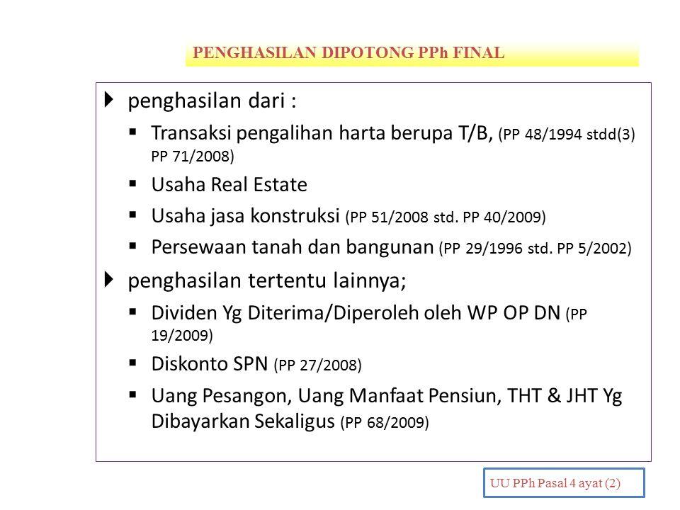 PENGHASILAN DIPOTONG PPh FINAL PENDAHULUAN UU PPh Pasal 4 ayat (2)  penghasilan dari :  Transaksi pengalihan harta berupa T/B, (PP 48/1994 stdd(3) PP 71/2008)  Usaha Real Estate  Usaha jasa konstruksi (PP 51/2008 std.