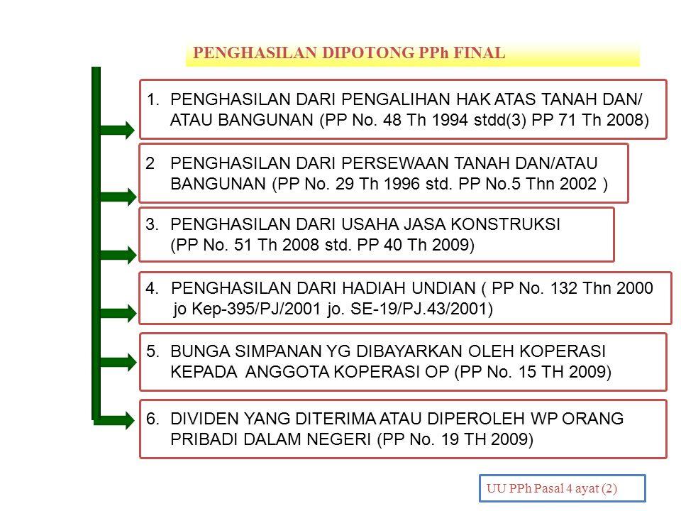 PENGHASILAN DIPOTONG PPh FINAL PENDAHULUAN UU PPh Pasal 4 ayat (2) 2 PENGHASILAN DARI PERSEWAAN TANAH DAN/ATAU BANGUNAN (PP No. 29 Th 1996 std. PP No.