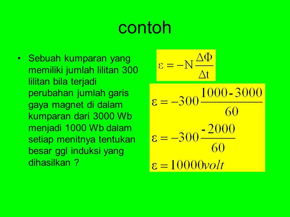 contoh Sebuah kumparan yang memiliki jumlah lilitan 300 lilitan bila terjadi perubahan jumlah garis gaya magnet di dalam kumparan dari 3000 Wb menjadi