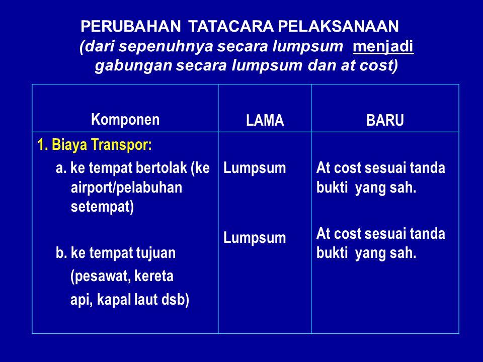 Komponen LAMABARU 1. Biaya Transpor: a. ke tempat bertolak (ke airport/pelabuhan setempat) b.