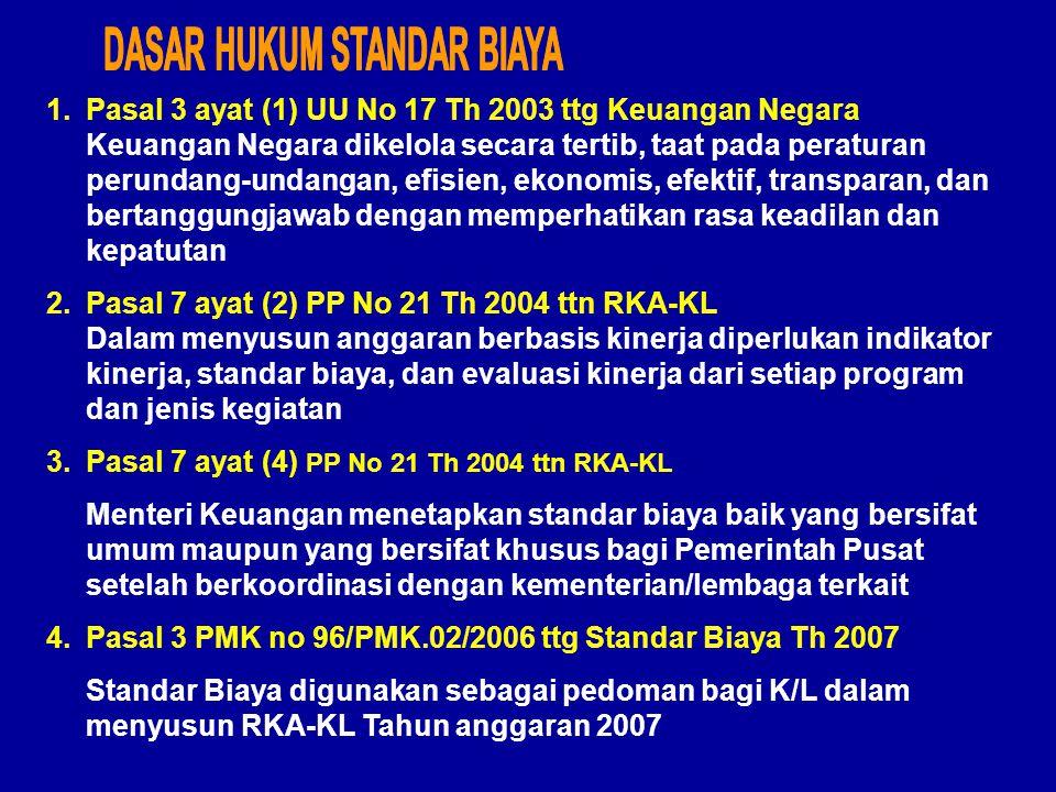 1.Pasal 3 ayat (1) UU No 17 Th 2003 ttg Keuangan Negara Keuangan Negara dikelola secara tertib, taat pada peraturan perundang-undangan, efisien, ekonomis, efektif, transparan, dan bertanggungjawab dengan memperhatikan rasa keadilan dan kepatutan 2.Pasal 7 ayat (2) PP No 21 Th 2004 ttn RKA-KL Dalam menyusun anggaran berbasis kinerja diperlukan indikator kinerja, standar biaya, dan evaluasi kinerja dari setiap program dan jenis kegiatan 3.Pasal 7 ayat (4) PP No 21 Th 2004 ttn RKA-KL Menteri Keuangan menetapkan standar biaya baik yang bersifat umum maupun yang bersifat khusus bagi Pemerintah Pusat setelah berkoordinasi dengan kementerian/lembaga terkait 4.Pasal 3 PMK no 96/PMK.02/2006 ttg Standar Biaya Th 2007 Standar Biaya digunakan sebagai pedoman bagi K/L dalam menyusun RKA-KL Tahun anggaran 2007
