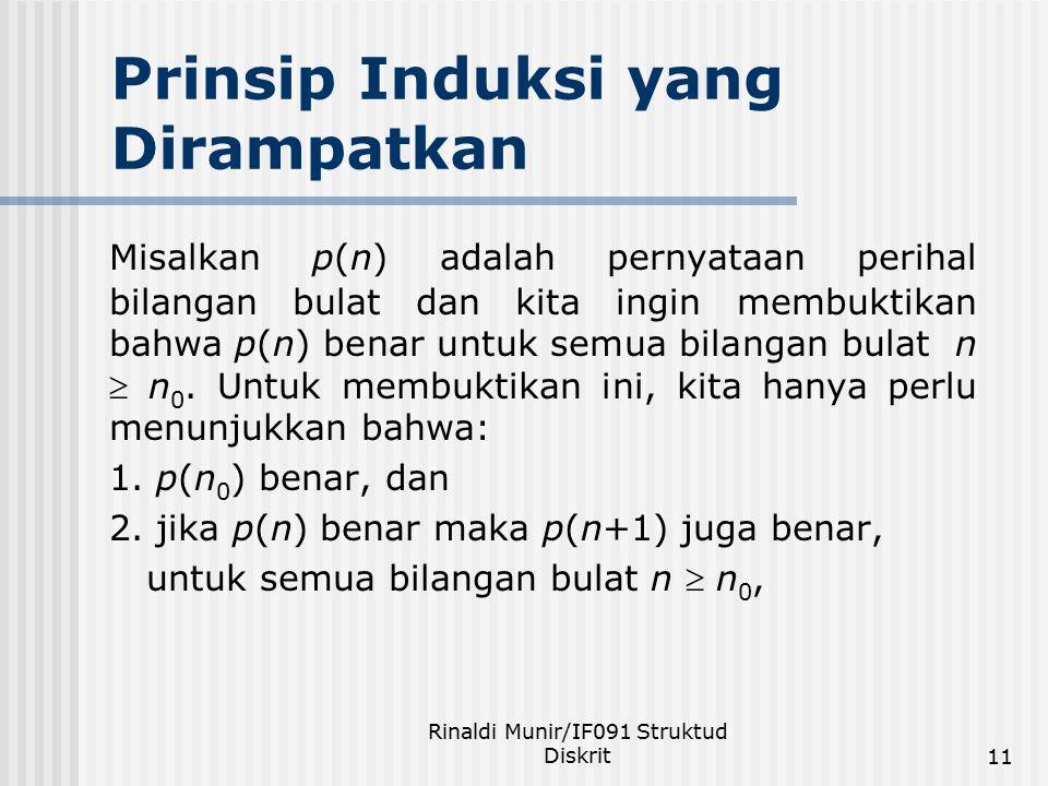 Rinaldi Munir/IF091 Struktud Diskrit11 Prinsip Induksi yang Dirampatkan Misalkan p(n) adalah pernyataan perihal bilangan bulat dan kita ingin membukti