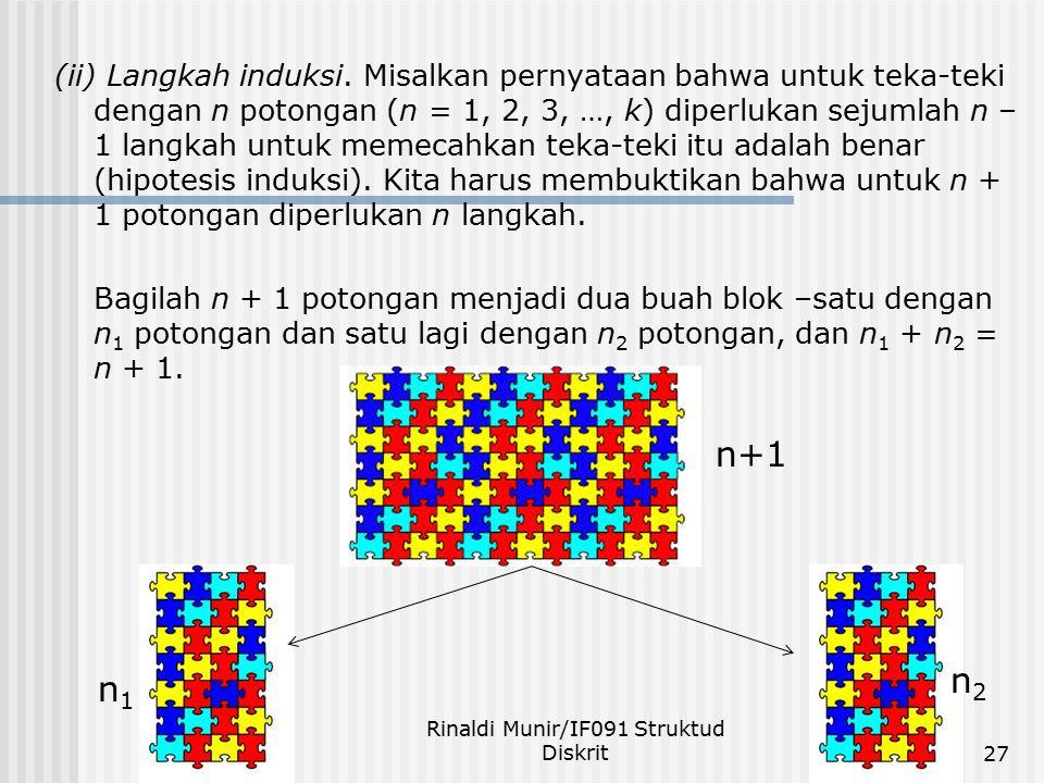 (ii) Langkah induksi. Misalkan pernyataan bahwa untuk teka-teki dengan n potongan (n = 1, 2, 3, …, k) diperlukan sejumlah n – 1 langkah untuk memecahk