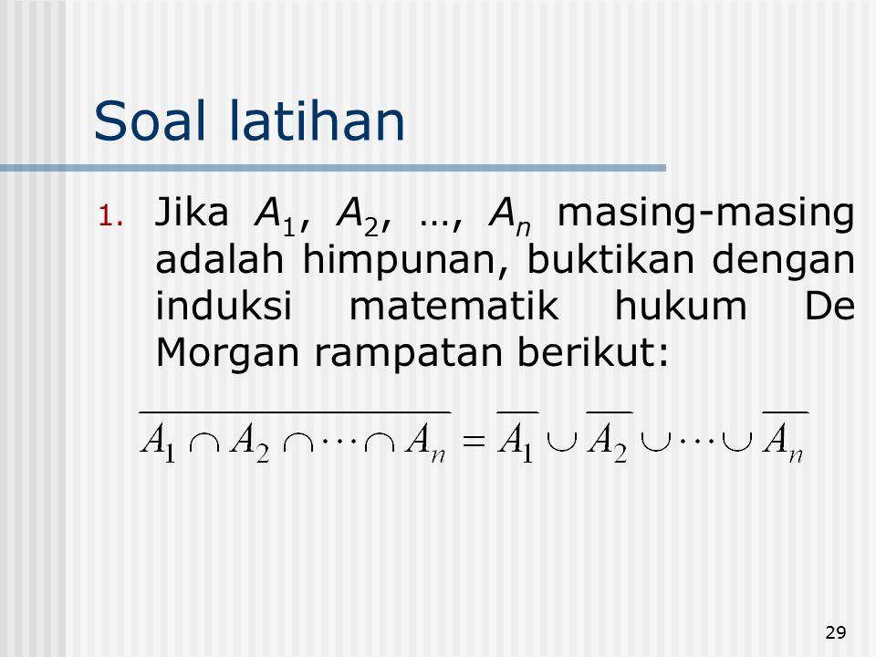 29 Soal latihan 1. Jika A 1, A 2, …, A n masing-masing adalah himpunan, buktikan dengan induksi matematik hukum De Morgan rampatan berikut: