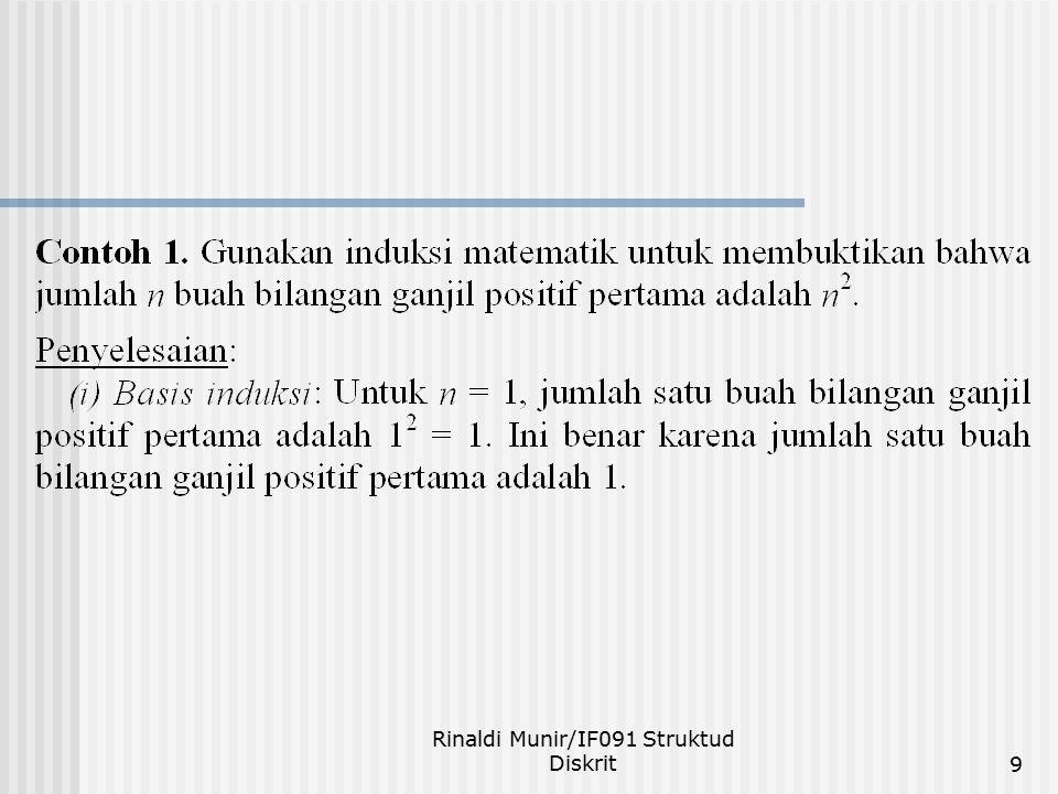 Rinaldi Munir/IF091 Struktud Diskrit20 Prinsip Induksi Kuat Misalkan p(n) adalah pernyataan perihal bilangan bulat dan kita ingin membuktikan bahwa p(n) benar untuk semua bilangan bulat n  n 0.