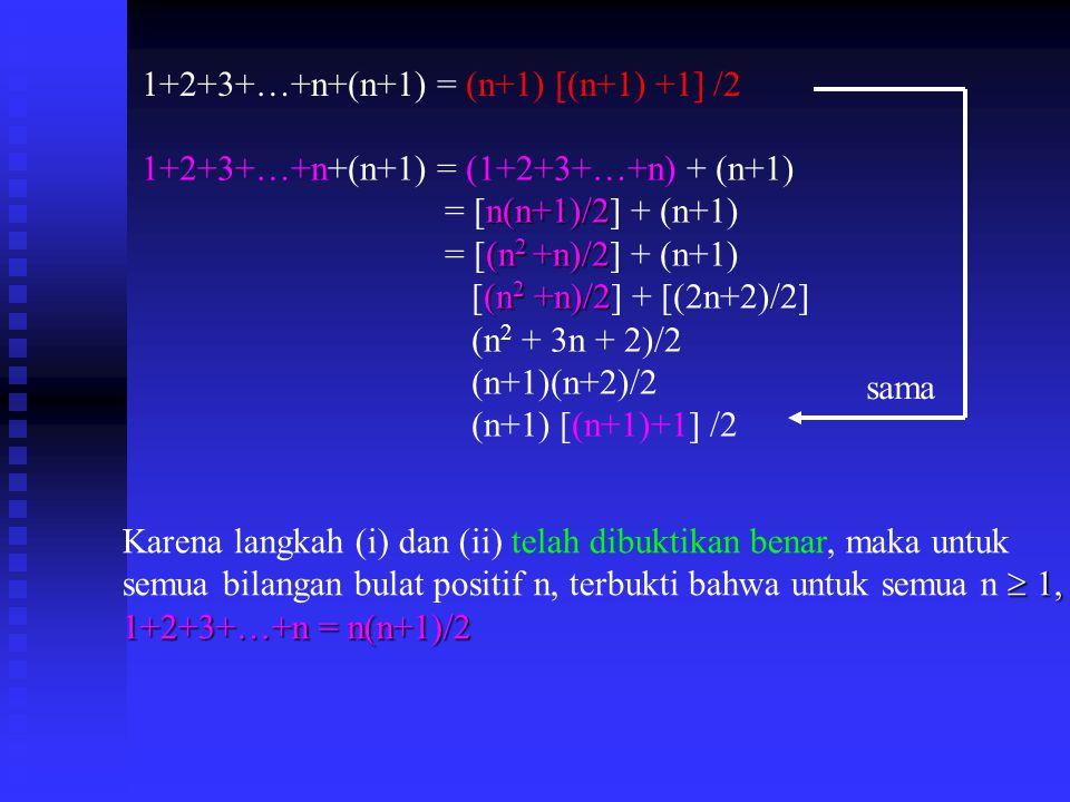 1+2+3+…+n+(n+1) = (1+2+3+…+n) + (n+1) n(n+1)/2 = [n(n+1)/2] + (n+1) (n 2 +n)/2 = [(n 2 +n)/2] + (n+1) (n 2 +n)/2 [(n 2 +n)/2] + [(2n+2)/2] (n 2 + 3n + 2)/2 (n+1)(n+2)/2 (n+1) [(n+1)+1] /2 Karena langkah (i) dan (ii) telah dibuktikan benar, maka untuk  1, semua bilangan bulat positif n, terbukti bahwa untuk semua n  1, 1+2+3+…+n = n(n+1)/2 sama