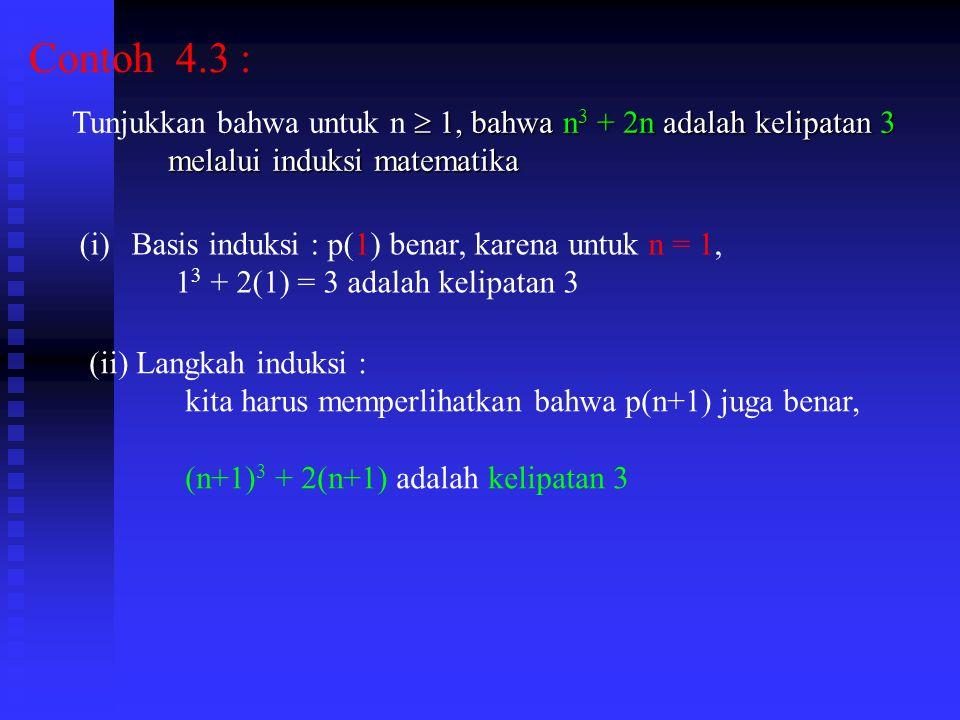 Contoh 4.3 :  1, bahwa n 3 + 2n adalah kelipatan 3 Tunjukkan bahwa untuk n  1, bahwa n 3 + 2n adalah kelipatan 3 melalui induksi matematika (i)Basis induksi : p(1) benar, karena untuk n = 1, 1 3 + 2(1) = 3 adalah kelipatan 3 (ii) Langkah induksi : kita harus memperlihatkan bahwa p(n+1) juga benar, (n+1) 3 + 2(n+1) adalah kelipatan 3