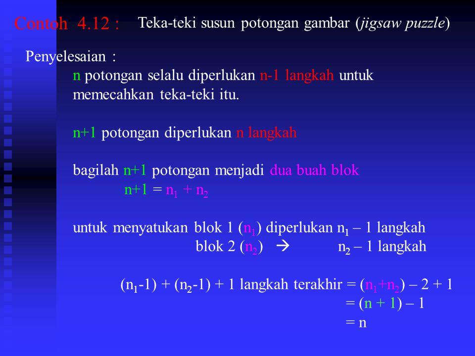 Contoh 4.12 : Teka-teki susun potongan gambar (jigsaw puzzle) Penyelesaian : n potongan selalu diperlukan n-1 langkah untuk memecahkan teka-teki itu.