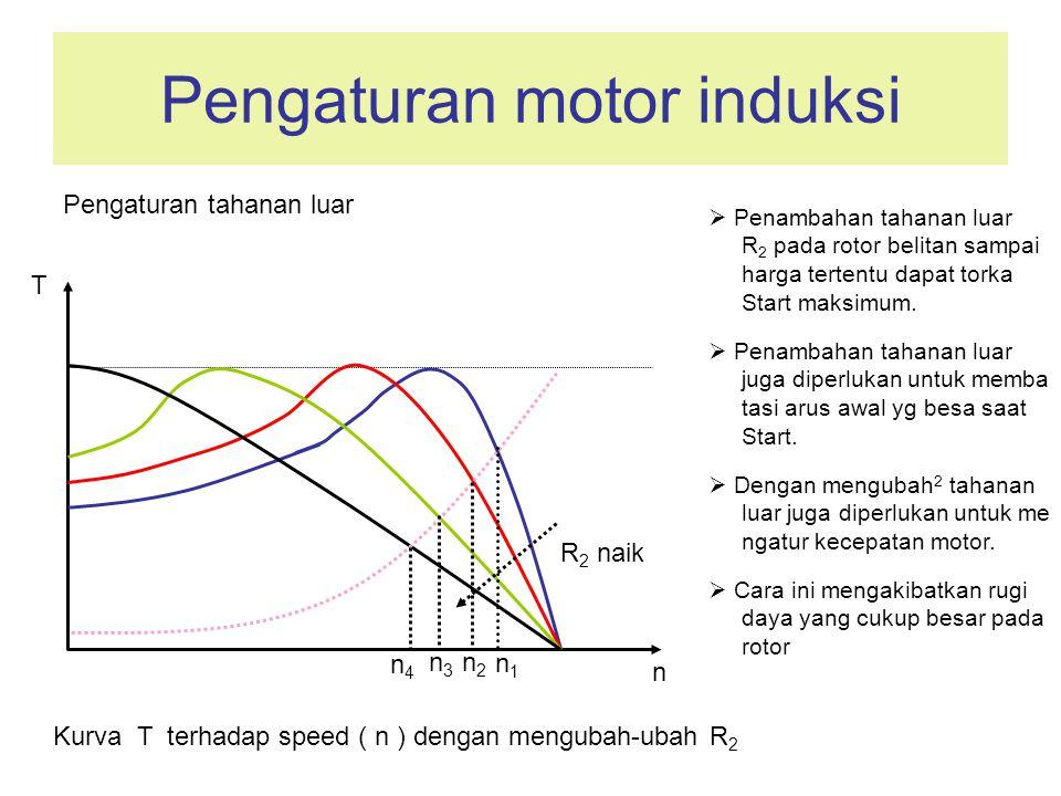 Pengaturan motor induksi Kurva T terhadap speed ( n ) dengan mengubah-ubah R 2  Penambahan tahanan luar R 2 pada rotor belitan sampai harga tertentu