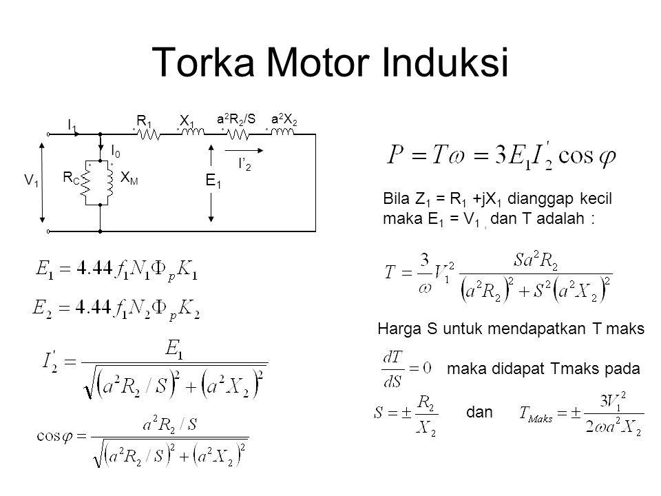 Torka Motor Induksi R1R1 X1X1 a 2 R 2 /S a2X2a2X2 RCRC XMXM V1V1 I1I1 I0I0 I' 2 Bila Z 1 = R 1 +jX 1 dianggap kecil maka E 1 = V 1, dan T adalah : Har