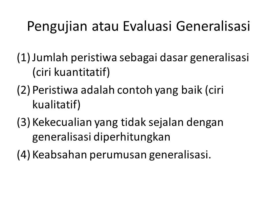Pengujian atau Evaluasi Generalisasi (1)Jumlah peristiwa sebagai dasar generalisasi (ciri kuantitatif) (2)Peristiwa adalah contoh yang baik (ciri kualitatif) (3)Kekecualian yang tidak sejalan dengan generalisasi diperhitungkan (4)Keabsahan perumusan generalisasi.