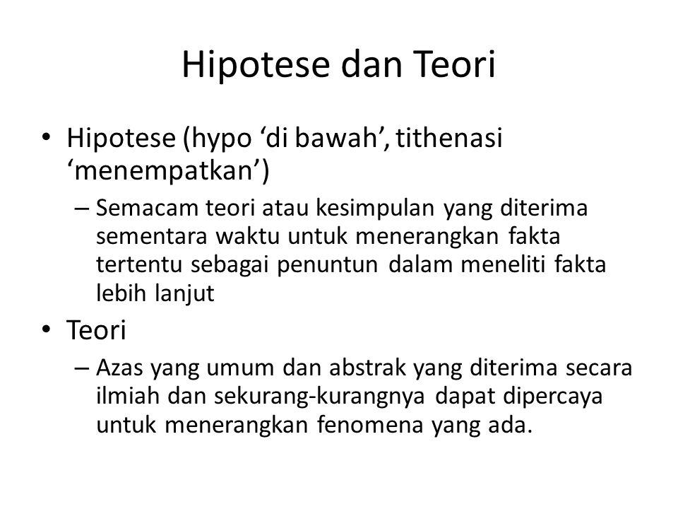 Hipotese dan Teori Hipotese (hypo 'di bawah', tithenasi 'menempatkan') – Semacam teori atau kesimpulan yang diterima sementara waktu untuk menerangkan