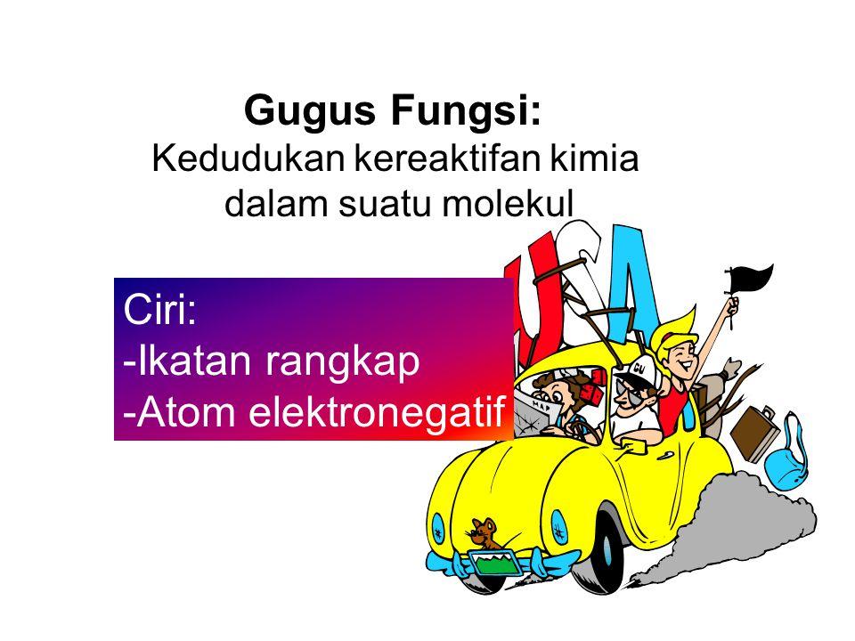Gugus Fungsi: Kedudukan kereaktifan kimia dalam suatu molekul Ciri: -Ikatan rangkap -Atom elektronegatif