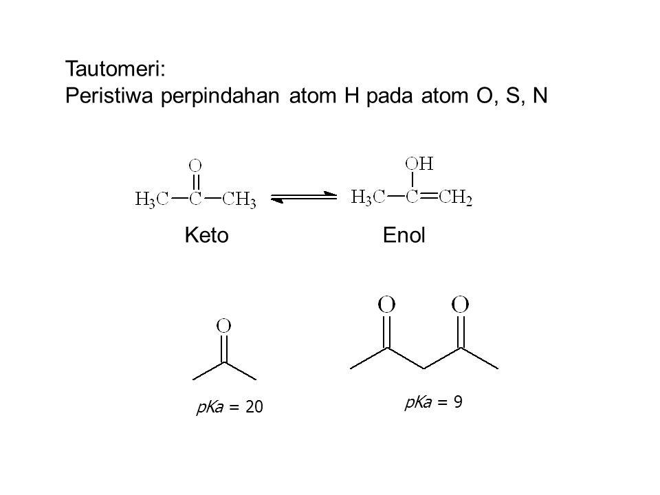 Tautomeri: Peristiwa perpindahan atom H pada atom O, S, N KetoEnol pKa = 20 pKa = 9