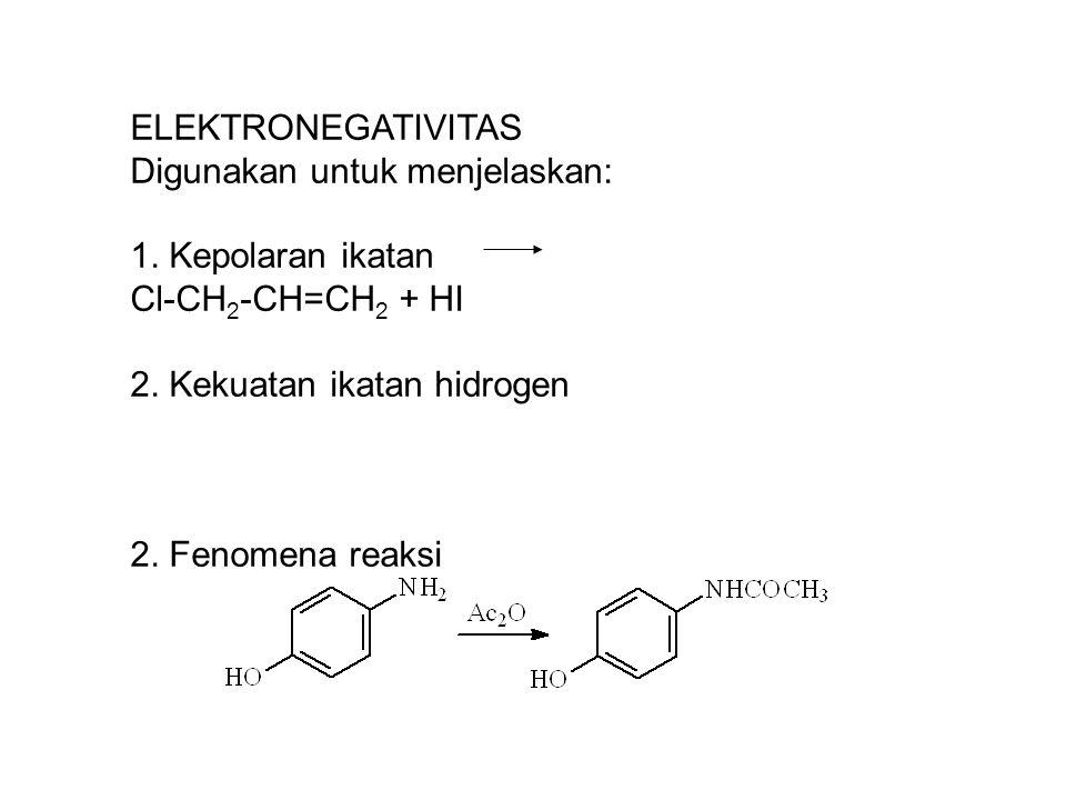 ELEKTRONEGATIVITAS Digunakan untuk menjelaskan: 1. Kepolaran ikatan Cl-CH 2 -CH=CH 2 + HI 2. Kekuatan ikatan hidrogen 2. Fenomena reaksi