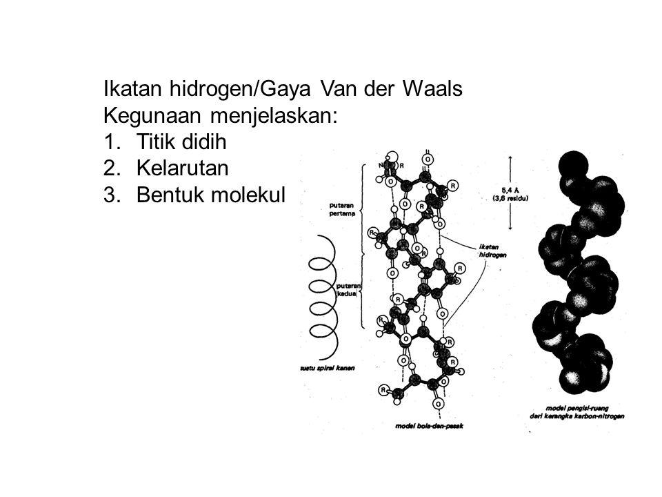 Ikatan hidrogen/Gaya Van der Waals Kegunaan menjelaskan: 1.Titik didih 2.Kelarutan 3.Bentuk molekul