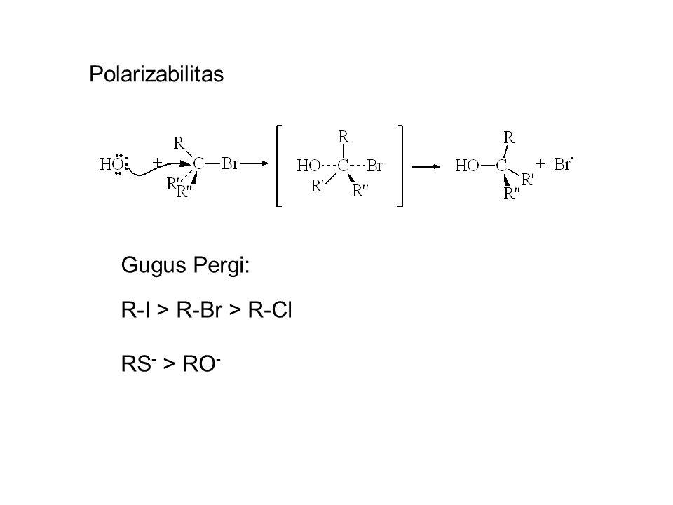 Polarizabilitas Gugus Pergi: R-I > R-Br > R-Cl RS - > RO -