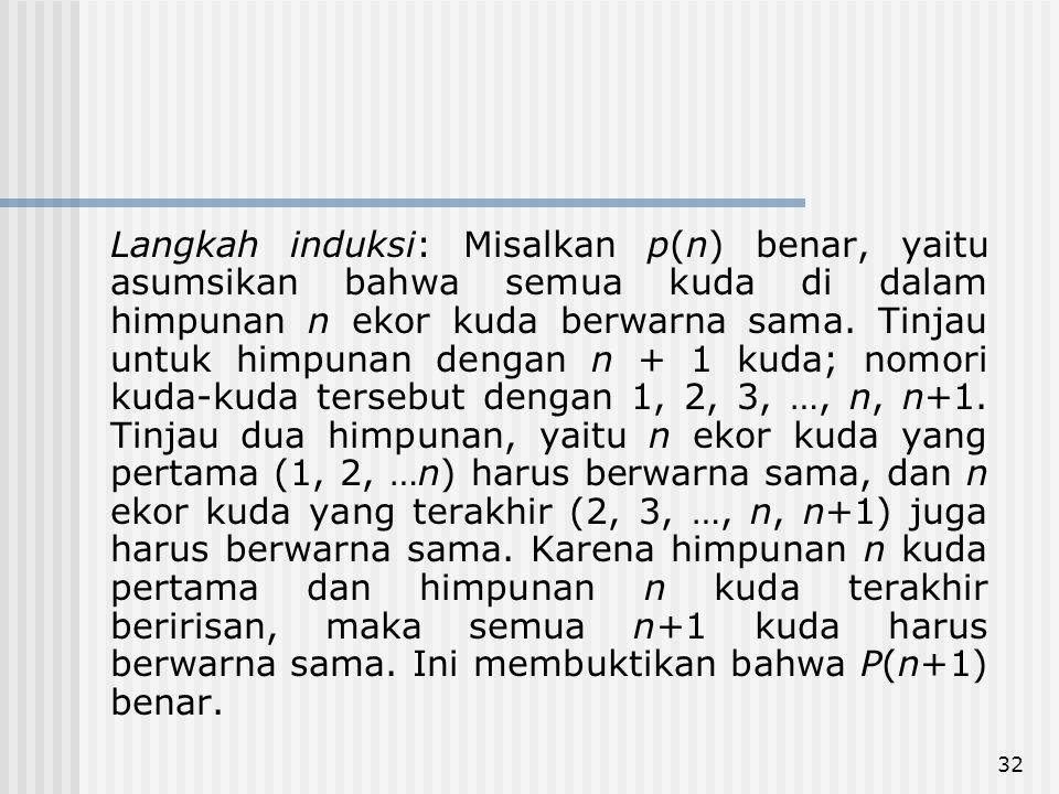 32 Langkah induksi: Misalkan p(n) benar, yaitu asumsikan bahwa semua kuda di dalam himpunan n ekor kuda berwarna sama. Tinjau untuk himpunan dengan n
