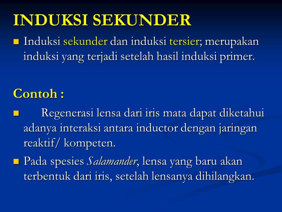 INDUKSI SEKUNDER Induksi sekunder dan induksi tersier; merupakan induksi yang terjadi setelah hasil induksi primer. Induksi sekunder dan induksi tersi