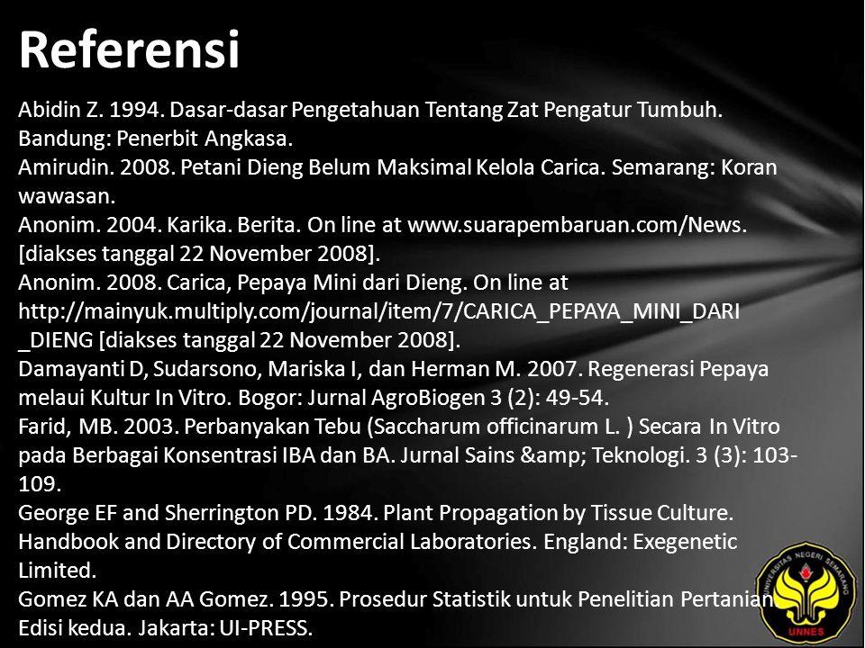 Referensi Abidin Z.1994. Dasar-dasar Pengetahuan Tentang Zat Pengatur Tumbuh.