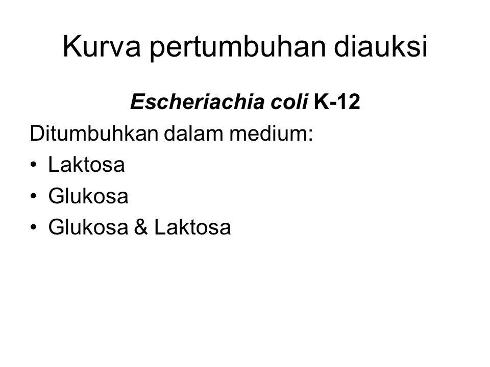 Kurva pertumbuhan diauksi Escheriachia coli K-12 Ditumbuhkan dalam medium: Laktosa Glukosa Glukosa & Laktosa