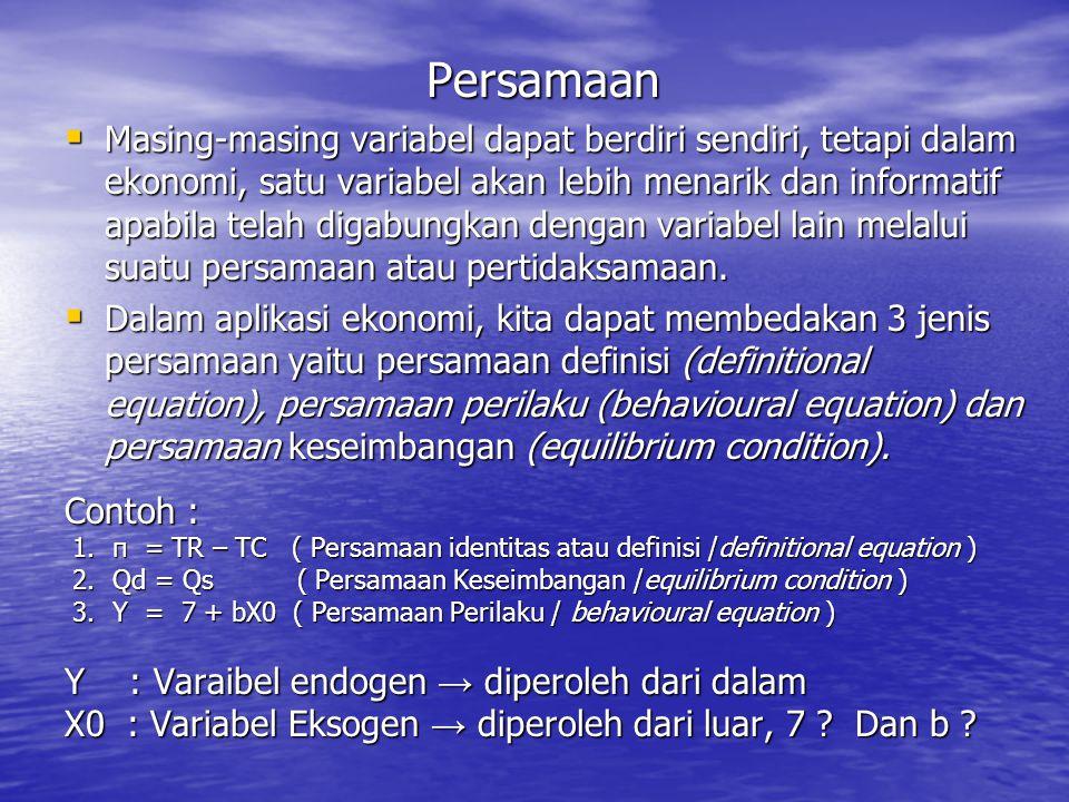  Variabel eksogen adalah variabel yang nilai solusinya ditentukan oleh kekuatan lain di luar model.  Dalam contoh hubungan linear konsumsi dan penda