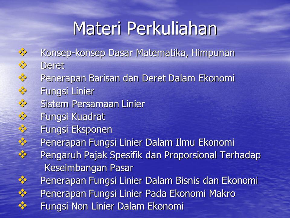 Materi Perkuliahan  Konsep-konsep Dasar Matematika, Himpunan  Deret  Penerapan Barisan dan Deret Dalam Ekonomi  Fungsi Linier  Sistem Persamaan Linier  Fungsi Kuadrat  Fungsi Eksponen  Penerapan Fungsi Linier Dalam Ilmu Ekonomi  Pengaruh Pajak Spesifik dan Proporsional Terhadap Keseimbangan Pasar Keseimbangan Pasar  Penerapan Fungsi Linier Dalam Bisnis dan Ekonomi  Penerapan Fungsi Linier Pada Ekonomi Makro  Fungsi Non Linier Dalam Ekonomi