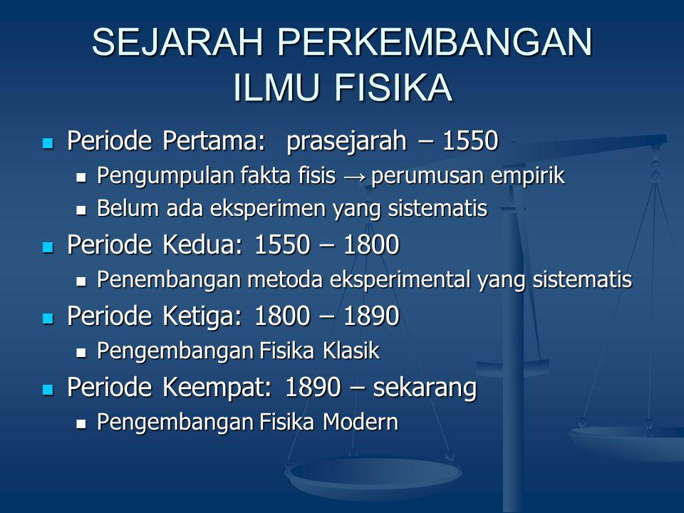 SEJARAH PERKEMBANGAN ILMU FISIKA Periode Pertama: prasejarah – 1550 Periode Pertama: prasejarah – 1550 Pengumpulan fakta fisis → perumusan empirik Pen
