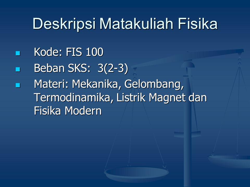 Deskripsi Matakuliah Fisika Kode: FIS 100 Kode: FIS 100 Beban SKS: 3(2-3) Beban SKS: 3(2-3) Materi: Mekanika, Gelombang, Termodinamika, Listrik Magnet