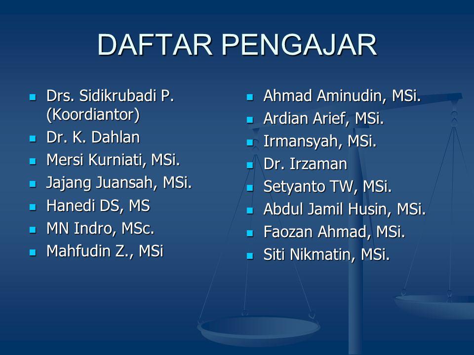 DAFTAR PENGAJAR Drs. Sidikrubadi P. (Koordiantor) Drs. Sidikrubadi P. (Koordiantor) Dr. K. Dahlan Dr. K. Dahlan Mersi Kurniati, MSi. Mersi Kurniati, M