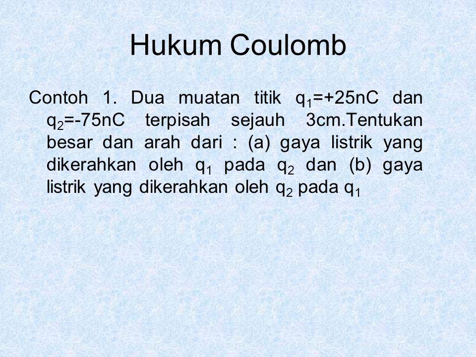 Hukum Coulomb Contoh 1. Dua muatan titik q 1 =+25nC dan q 2 =-75nC terpisah sejauh 3cm.Tentukan besar dan arah dari : (a) gaya listrik yang dikerahkan