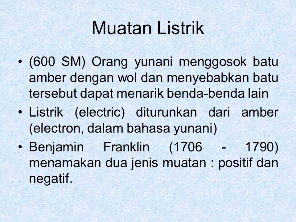 Muatan Listrik dan Struktur Materi Struktur atom terdiri dari : Elektron yang bermuatan negatif Proton yang bermuatan positif Neutron yang tak bermuatan