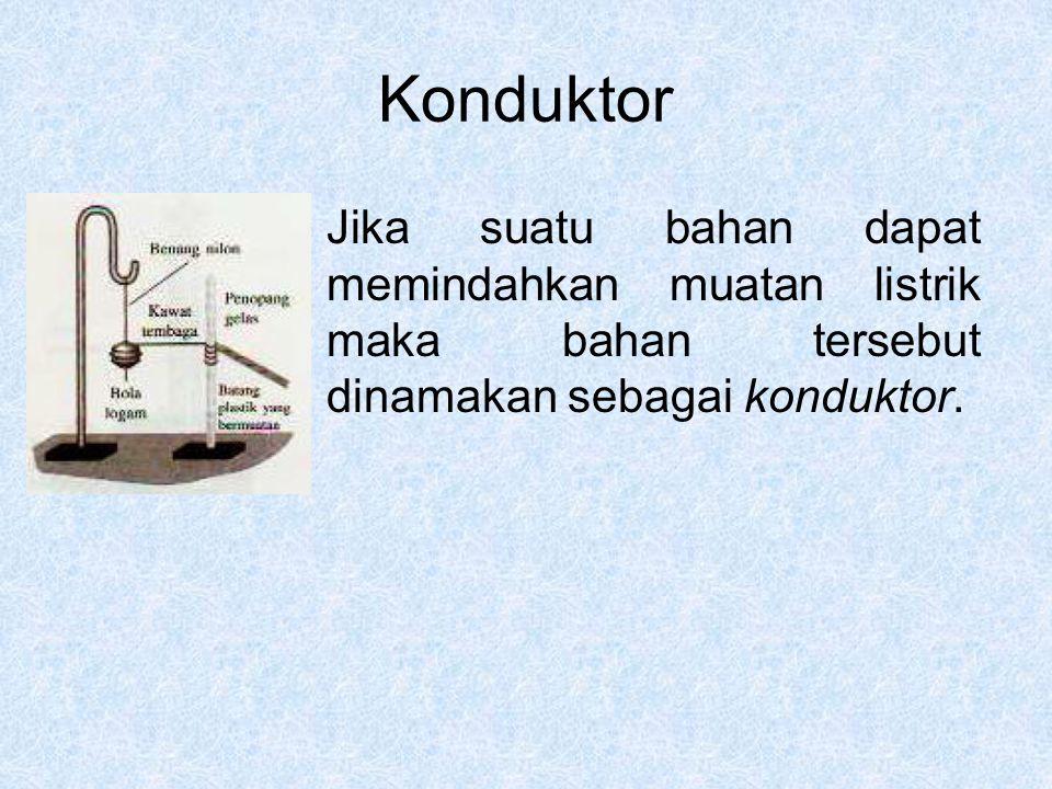Konduktor Jika suatu bahan dapat memindahkan muatan listrik maka bahan tersebut dinamakan sebagai konduktor.