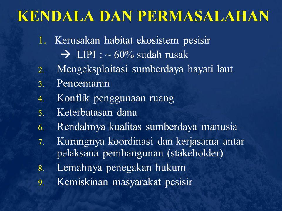 SD Wilayah Pesisir & Laut: -Laut Lepas -Terumbu Karang -Padang Lamun -Estuaria -Mangrove Pendapatan Daerah Tekanan Industri/ Teknologi/Sosek Kerusakan