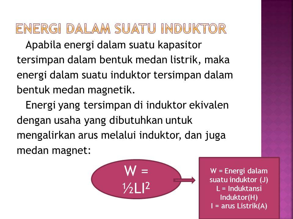 Apabila energi dalam suatu kapasitor tersimpan dalam bentuk medan listrik, maka energi dalam suatu induktor tersimpan dalam bentuk medan magnetik. Ene