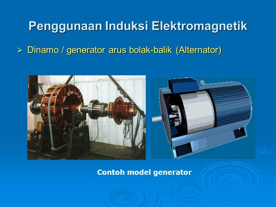 Penggunaan Induksi Elektromagnetik DDDDinamo / generator arus bolak-balik (Alternator) Contoh model generator