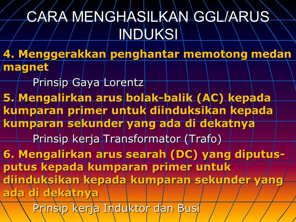 CARA MENGHASILKAN GGL/ARUS INDUKSI 4. Menggerakkan penghantar memotong medan magnet Prinsip Gaya Lorentz 5. Mengalirkan arus bolak-balik (AC) kepada k