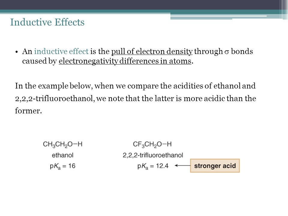 Inductive Effects An inductive effect is the pull of electron density through  bonds caused by electronegativity differences in atoms.