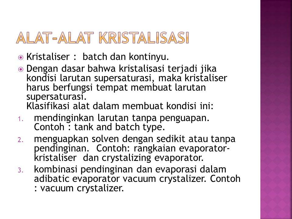  Kristaliser : batch dan kontinyu.