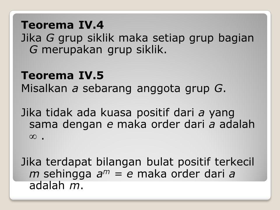 Teorema IV.4 Jika G grup siklik maka setiap grup bagian G merupakan grup siklik.