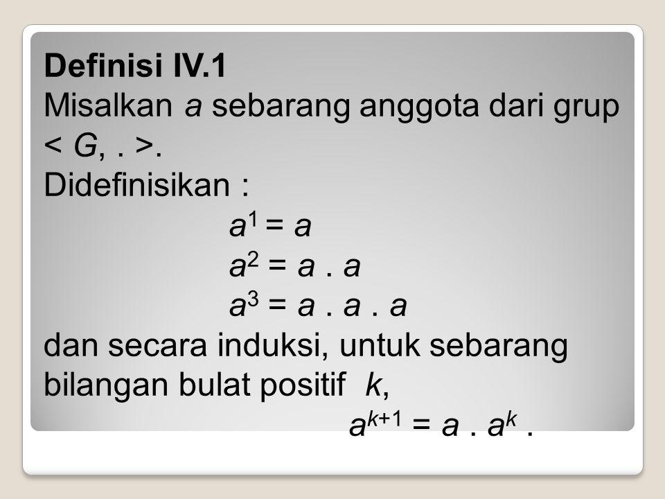 Definisi IV.1 Misalkan a sebarang anggota dari grup.
