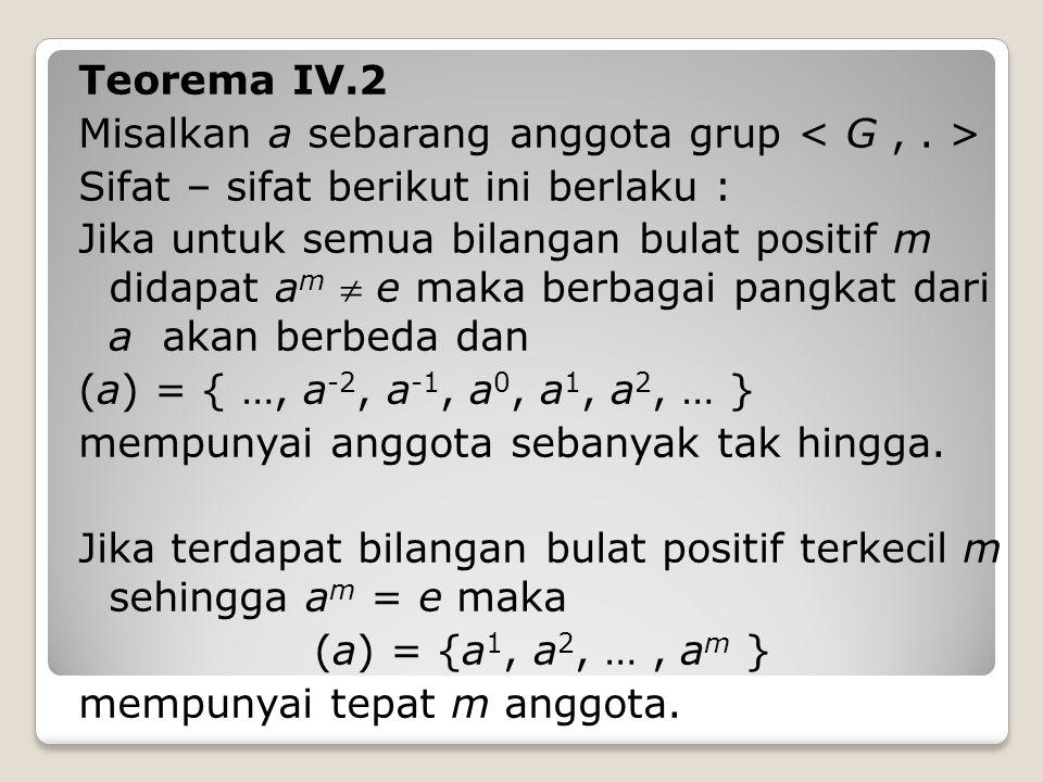 Teorema IV.2 Misalkan a sebarang anggota grup Sifat – sifat berikut ini berlaku : Jika untuk semua bilangan bulat positif m didapat a m  e maka berbagai pangkat dari a akan berbeda dan (a) = { …, a -2, a -1, a 0, a 1, a 2, … } mempunyai anggota sebanyak tak hingga.