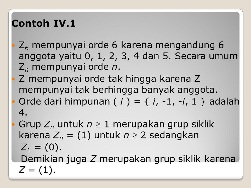 Contoh IV.1 Z 6 mempunyai orde 6 karena mengandung 6 anggota yaitu 0, 1, 2, 3, 4 dan 5.