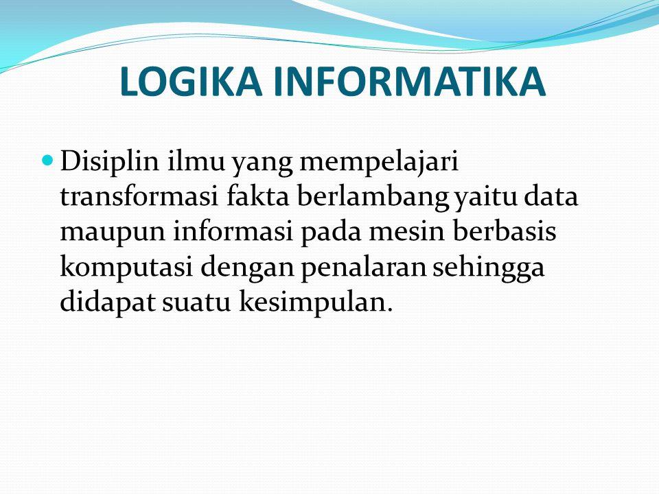 LOGIKA INFORMATIKA Disiplin ilmu yang mempelajari transformasi fakta berlambang yaitu data maupun informasi pada mesin berbasis komputasi dengan penalaran sehingga didapat suatu kesimpulan.