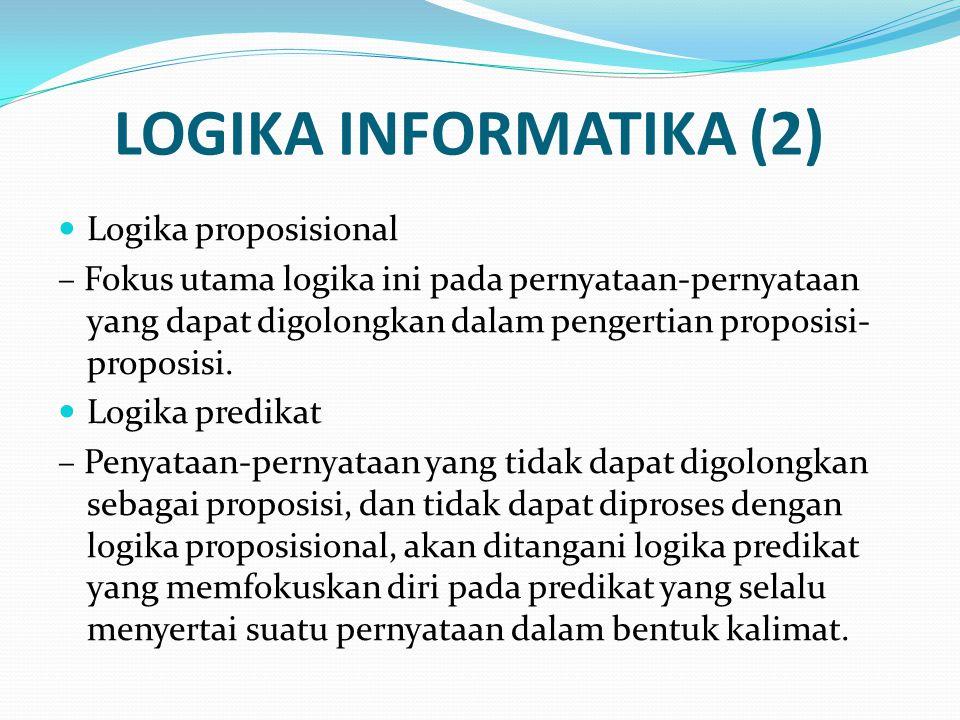 LOGIKA INFORMATIKA (2) Logika proposisional – Fokus utama logika ini pada pernyataan-pernyataan yang dapat digolongkan dalam pengertian proposisi- proposisi.
